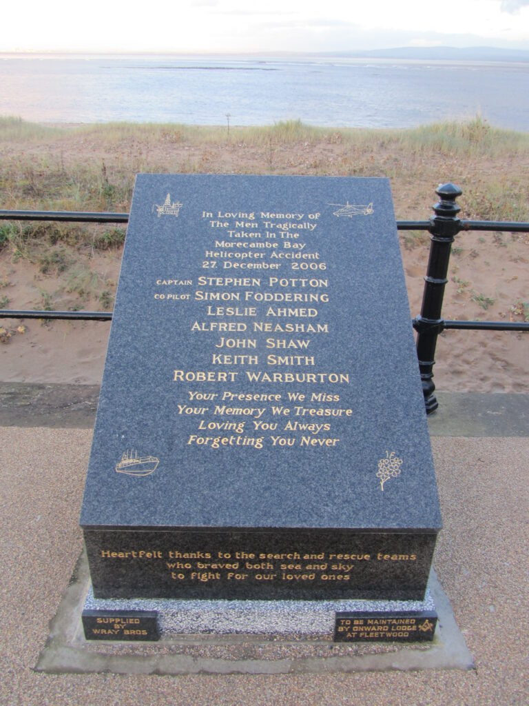 Names of the men lost in the Morecambe Bay Helicopter Crash Memorial on The Esplanade, Fleetwood