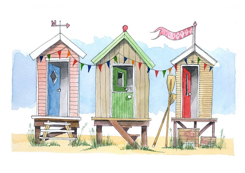 Beach Huts watercolour painting from Seaside Emporium, the Visit Fylde Coast online shop