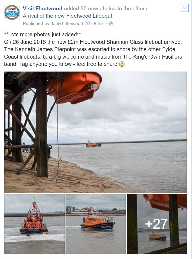Facebook album of photos of the lifeboats arrival