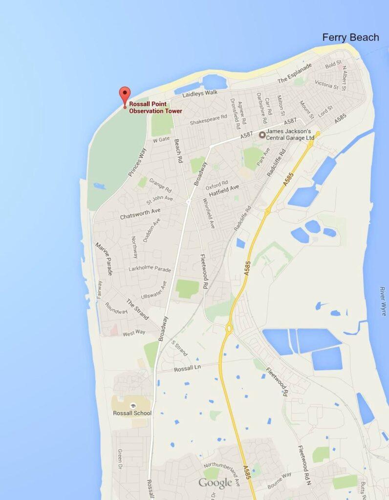 Google map of Fleetwood Ferry Beach
