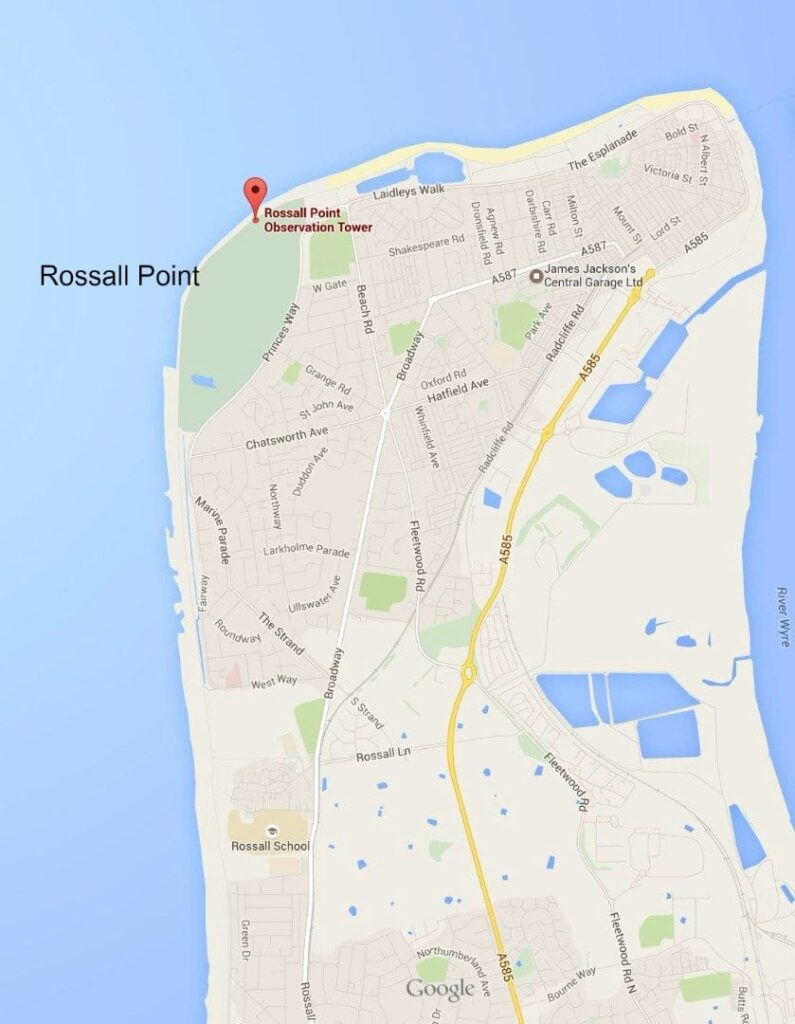Google Map showing position of Rossall Point