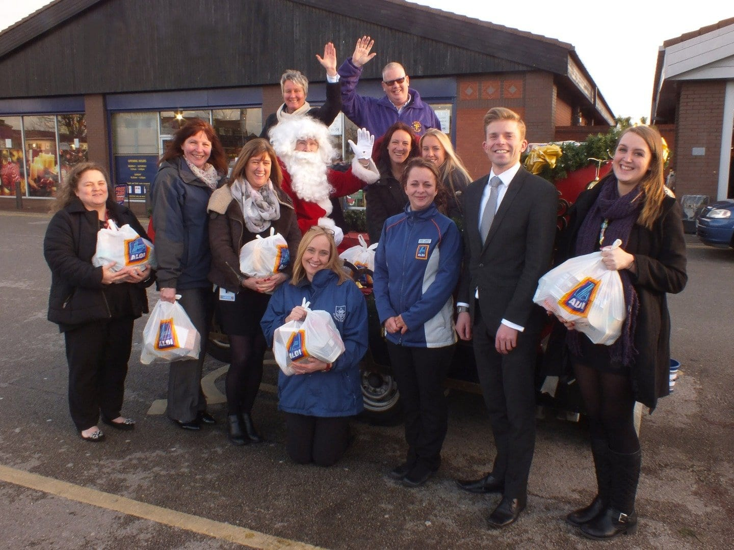 Fleetwood Rotary Santa Sleigh with food parcel donations