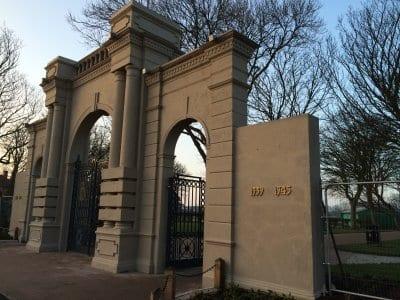 Gates at Memorial Park Fleetwood after restoration