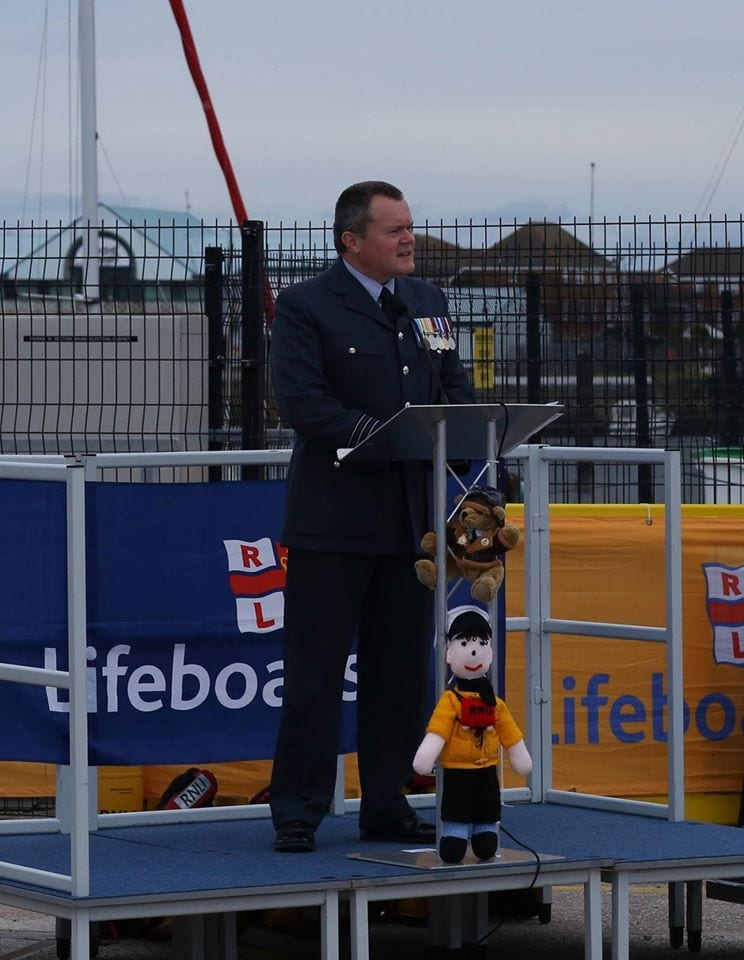 Wing Commander Paul Bell names the new Fleetwood lifeboat