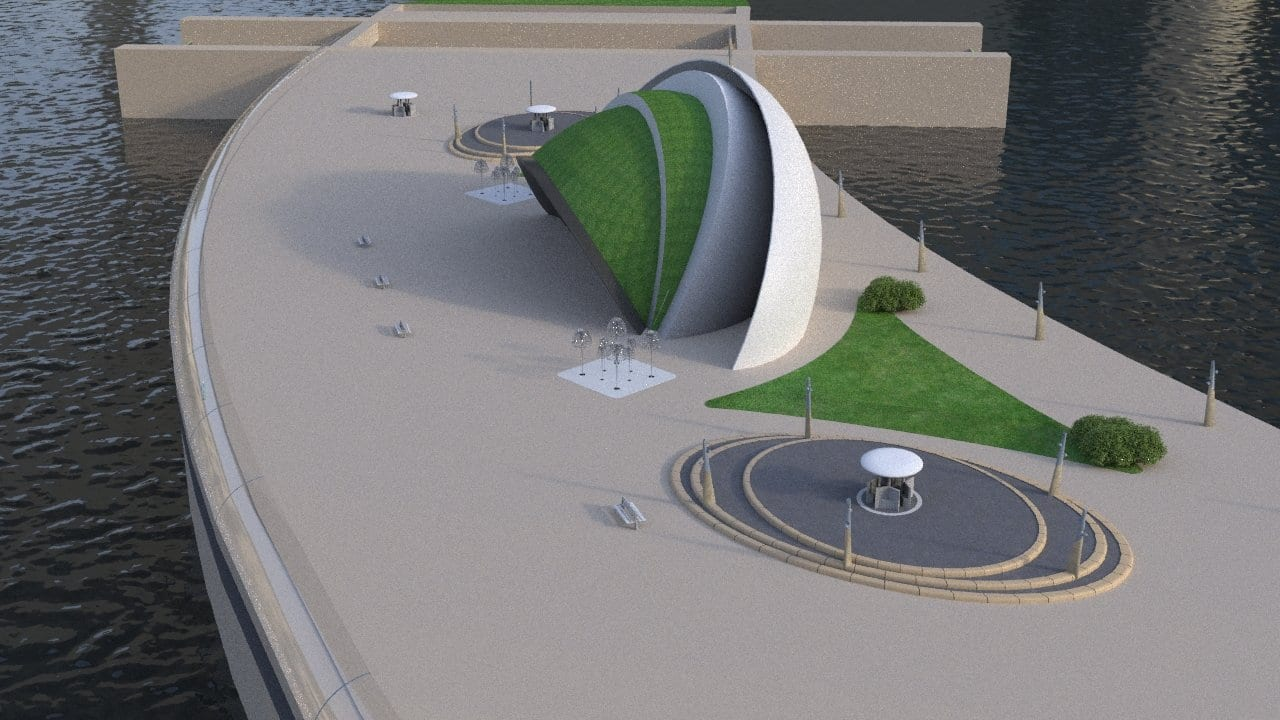 Artists impression of the proposed Wyre Tidal Barrage