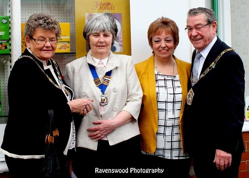 L-R: Mayoress of Wyre, Margaret Daniels from Fleetwood Civic Society, Mrs Elizabeth Anderson, Mayor of Wyre, Cllr Ron Shewan. Photo: Maureen Blair