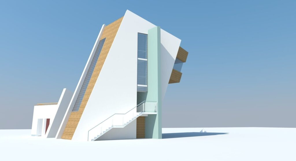 Side view artist's impression of Rossall Coastwatch Tower