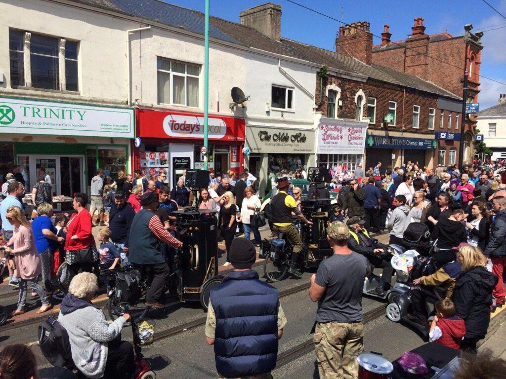 Street theatre at Tram Sunday