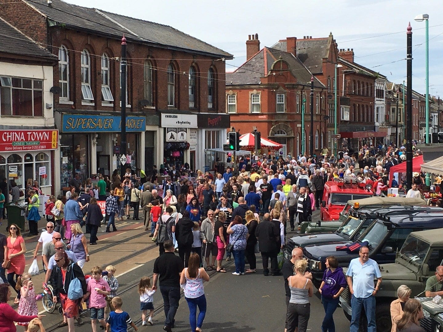 Crowded Lord Street at Fleetwood Tram Sunday