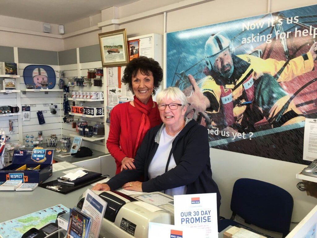 Volunteers in Fleetwood RNLI lifeboat station shop