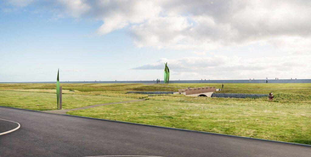 Artists impression of Larkholme Grasslands at Rossall Sea Defence Works