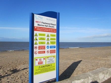 Beach information signage, includes details of where you can take dogs on Beaches in Fleetwood