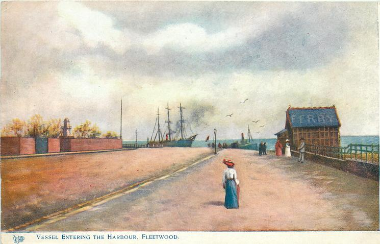 Boat entering Fleetwood Harbour 1909. Old Fleetwood photos
