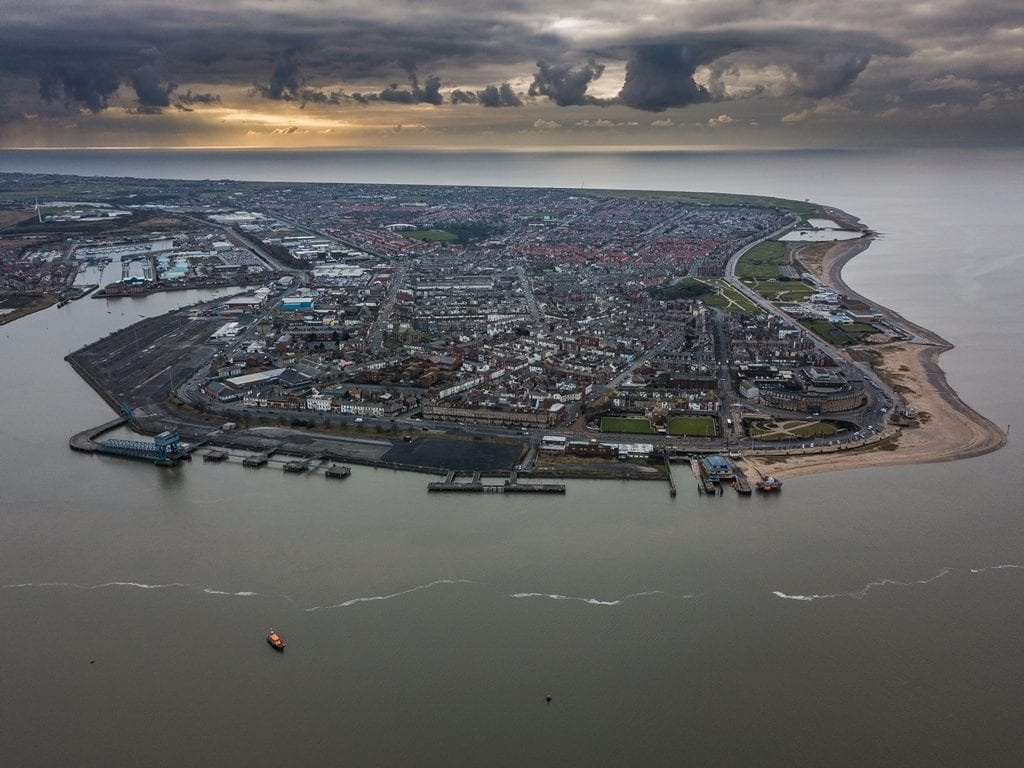 Aerial view of Fleetwood peninsula from Christopher Verity. Pick your spot to go walking in Fleetwood