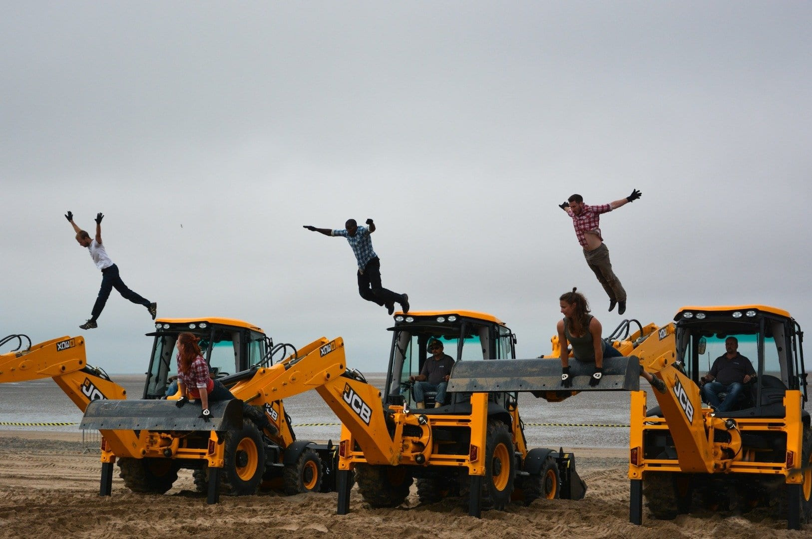 Dancing Diggers on Fleetwood beach at Tram Sunday
