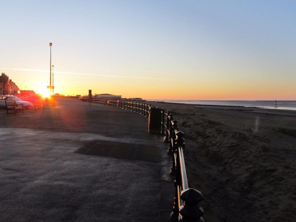 Sunset over Ferry Beach at The Esplanade Fleetwood
