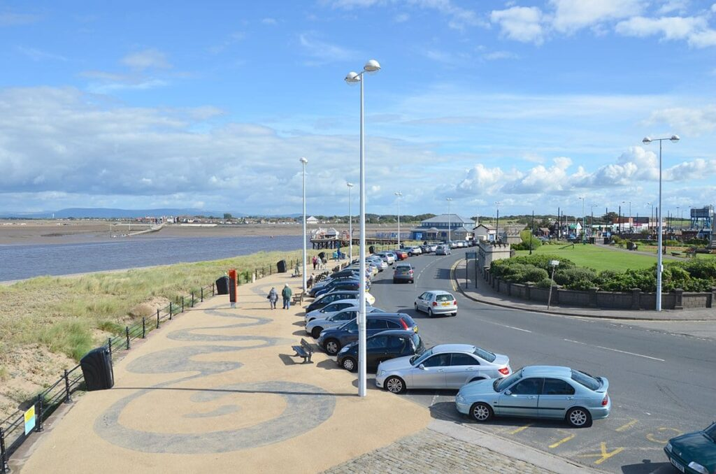 View of The Esplanade, from the Lower Lighthouse on Fleetwood seafront.