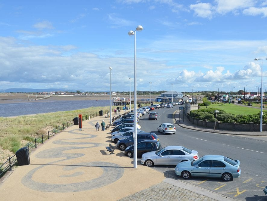 Parking in Fleetwood: View of The Esplanade, from the Lower Lighthouse on Fleetwood seafront.