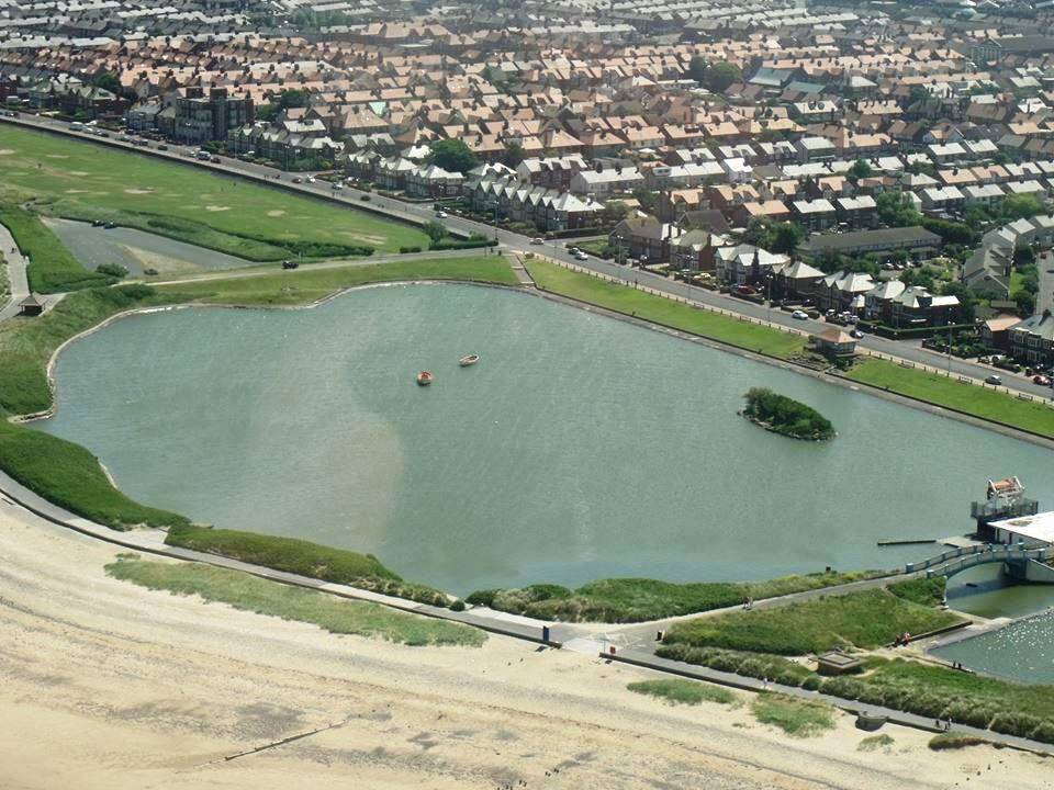Aerial view of Fleetwood boating lake. Photo: Debbie and Tony Fogg