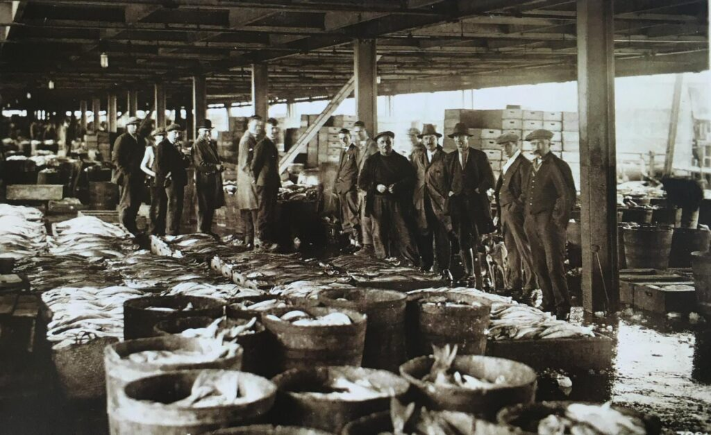 Old Fleetwood photos. Fleetwood fish market in 1937