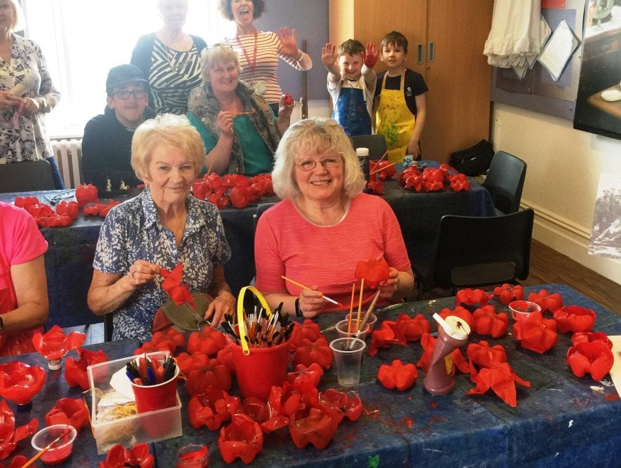 Making 10,000 recycled plastic poppies for Fleetwood in Bloom. What's Happening at Fleetwood Museum