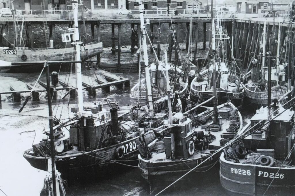 Old photos of Fleetwood. Inshore Fishing Boats at Fleetwood Docks