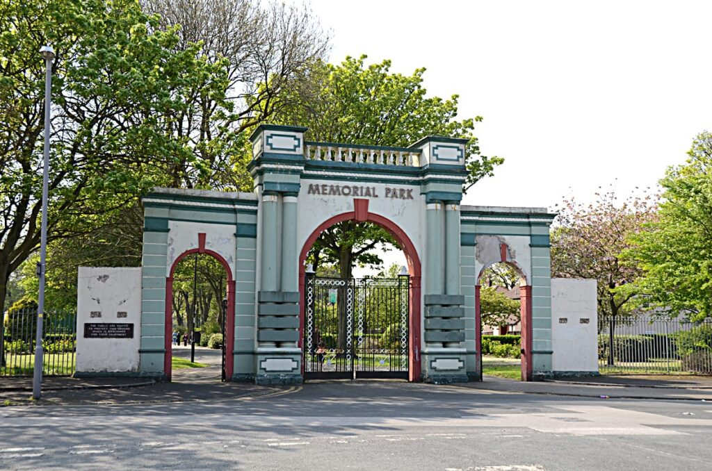 Gates at the entrance to Memorial Park in 2011 before restoration