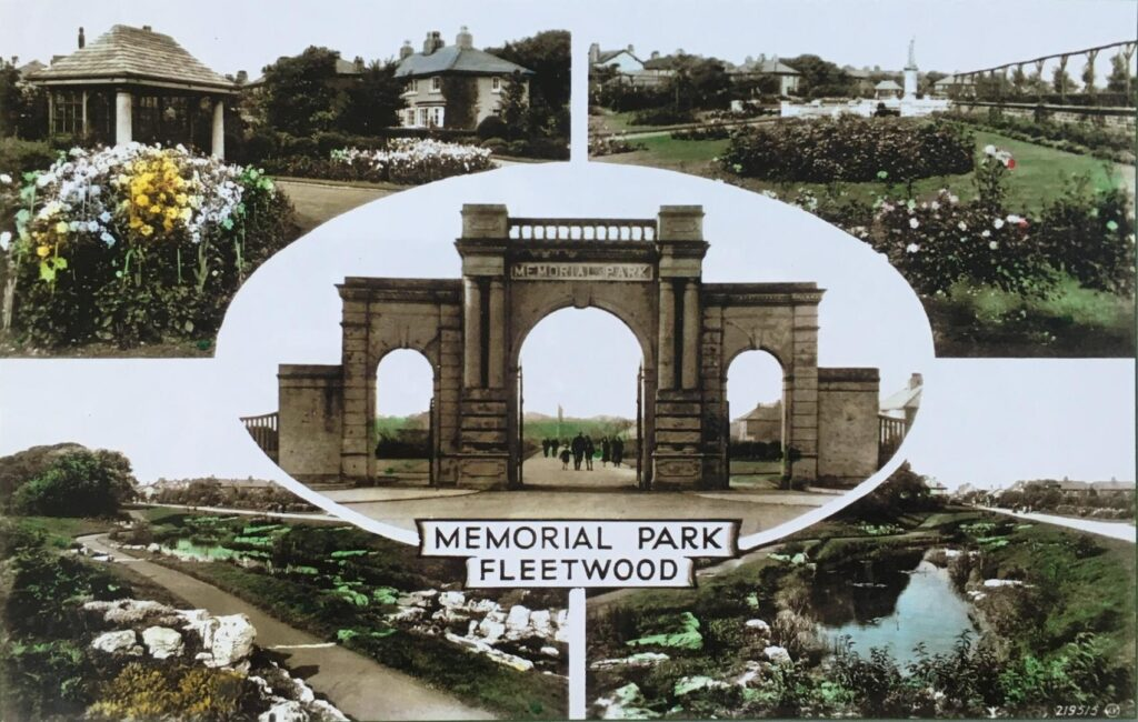 Hand coloured postcards of Fleetwood Memorial Park, from the 1920s. Old Fleetwood photos