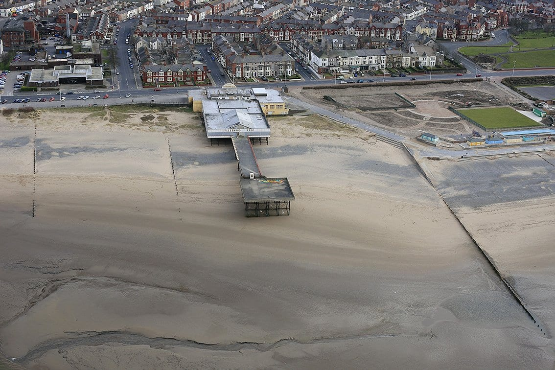 Aerial view of the Fleetwood Pier site while the pier was standing