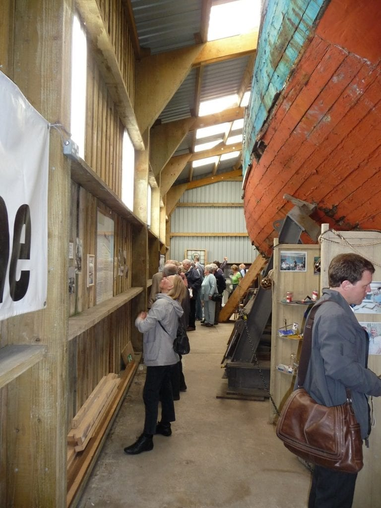 Harriet fishing smack, exhibited in the boat hall at Fleetwood Museum