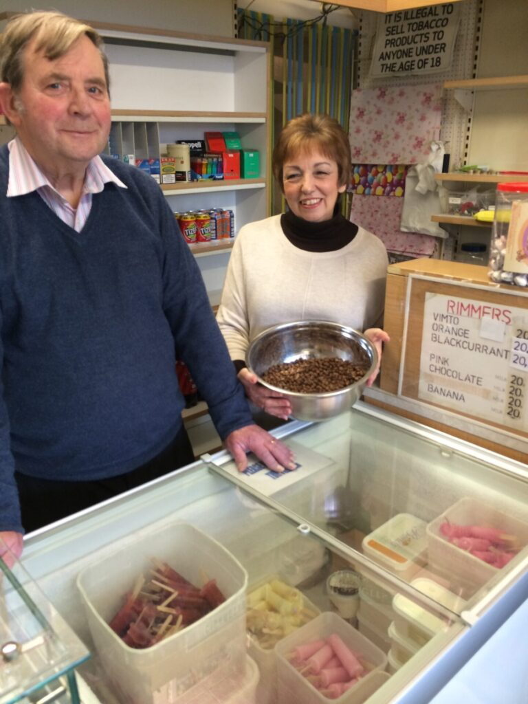 Harry and Mrs Anderson at Rimmers with the famous lollies and parched peas. Photo: Visit Fleetwood