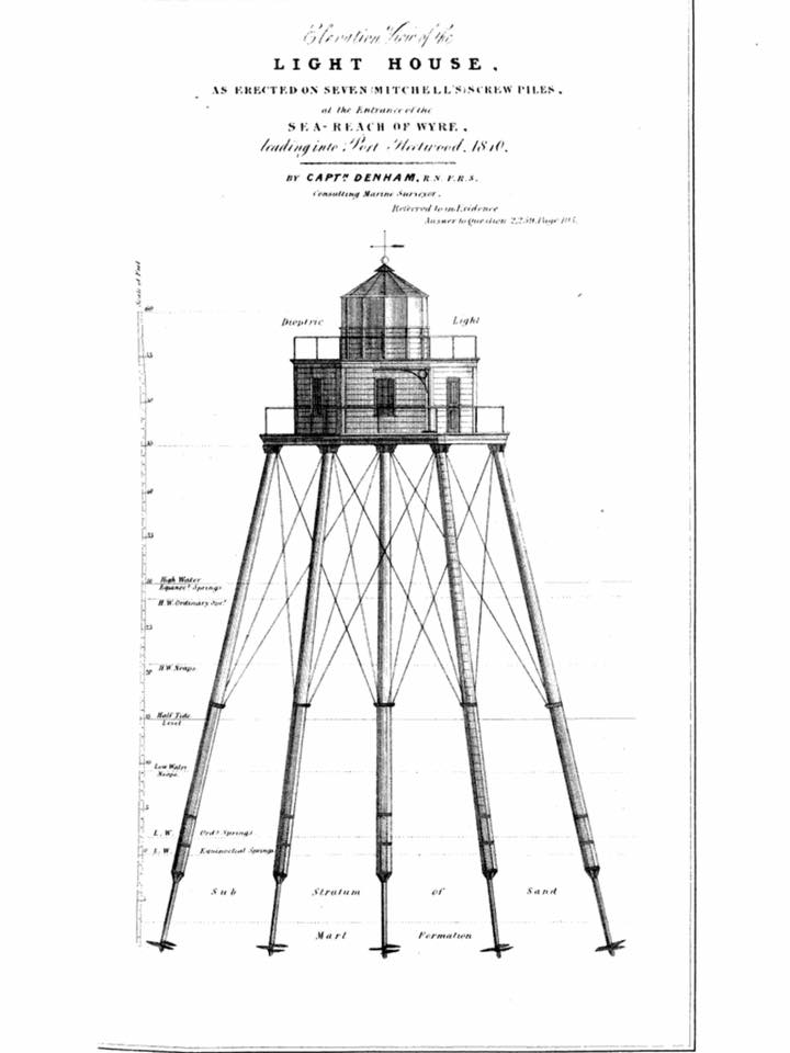 Historic drawing showing the construction of the Wyre Light, shared by Chris Hudson