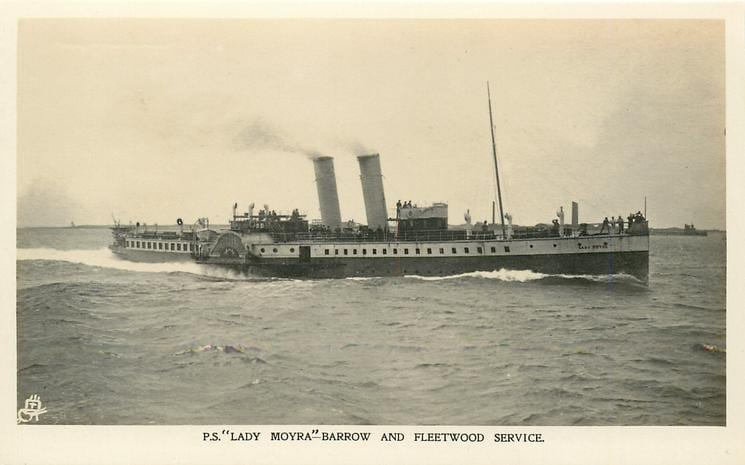 Old photos of Fleetwood. Lady Moyra Paddle Steamer from Fleetwood to Barrow. Tuck Postcards