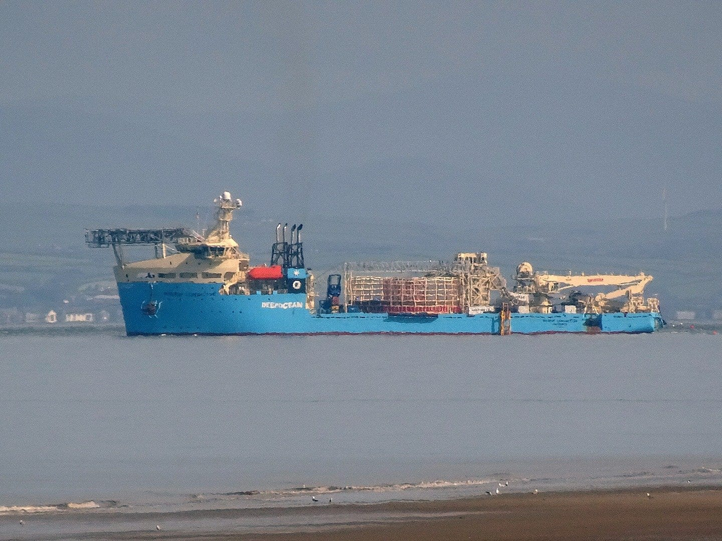 Maersk Connector ship in Morecambe Bay, medical transfer carried out by Fleetwood RNLI