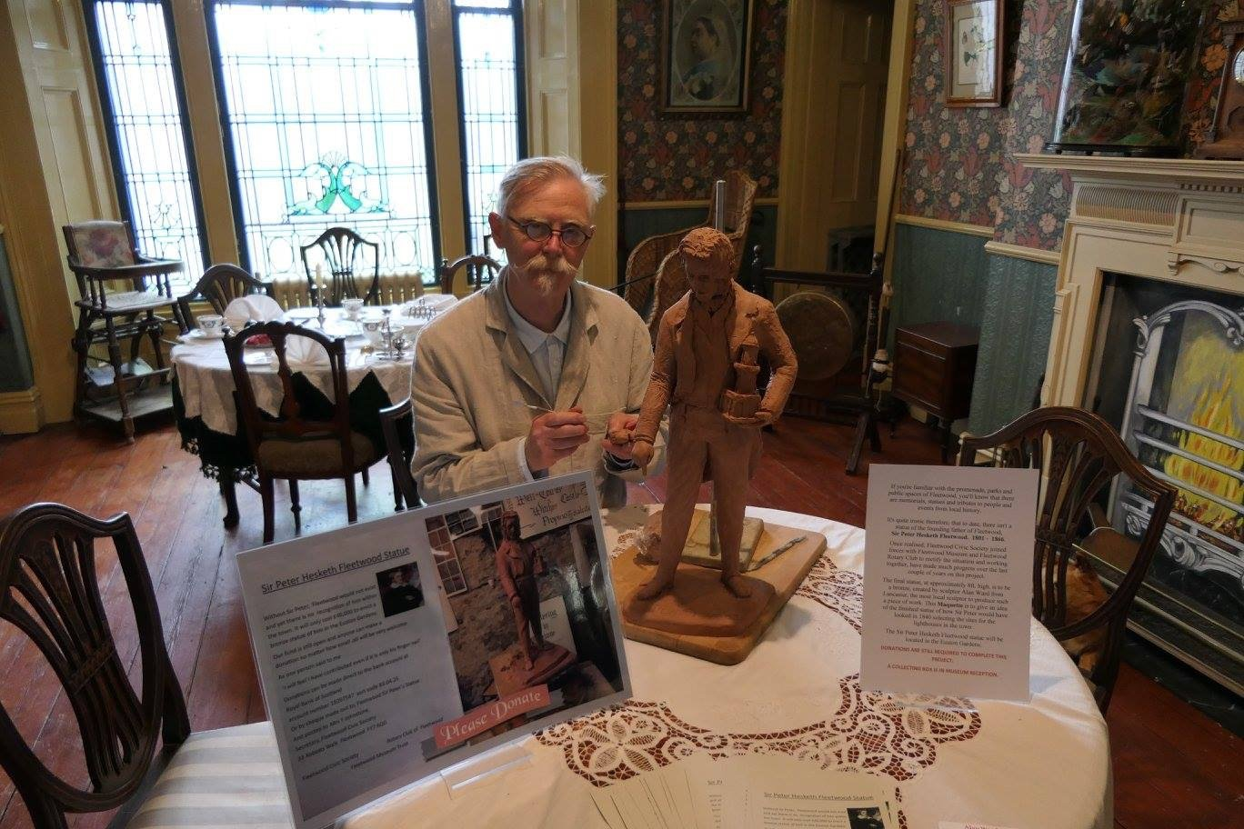 Maquette of the statue of Sir Peter Hesketh Fleetwood with sculptor Alan Ward