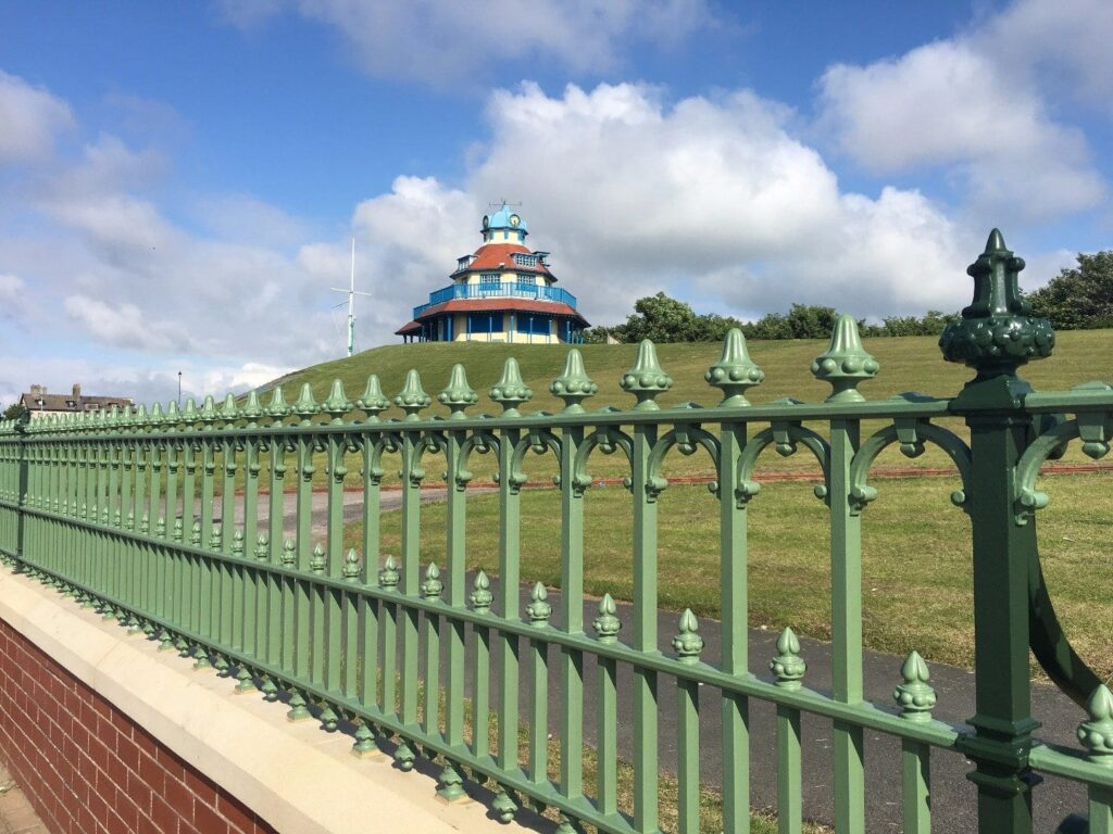 Restored railings around The Mount at Fleetwood