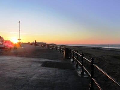 Fleetwood promenade at sunset
