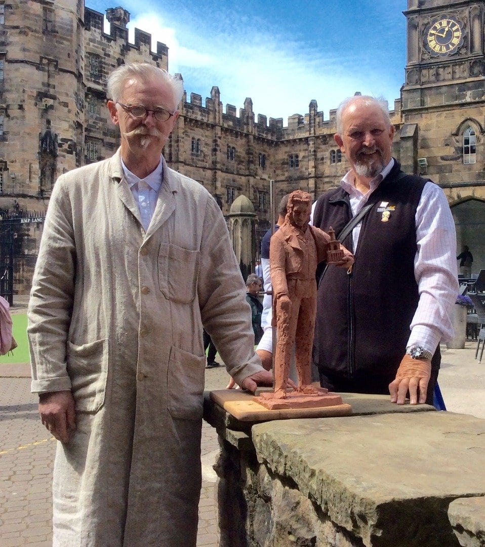 Sculptor Alan Ward and group member William Hargreaves, with the maquette of the statue of Sir Peter Hesketh Fleetwood