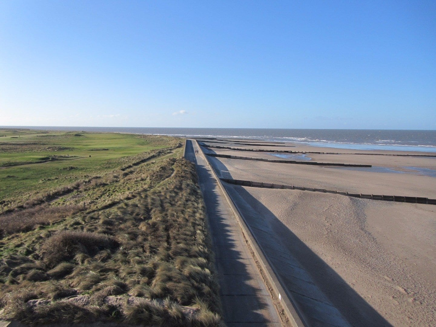 Beach and seafront around Rossall Tower