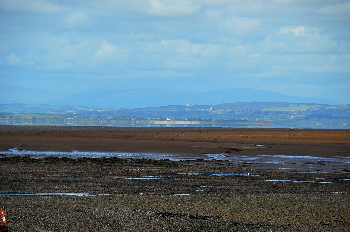 View of Lancaster across Morecambe Bay, from Ferry Beach at The Esplanade at Fleetwood