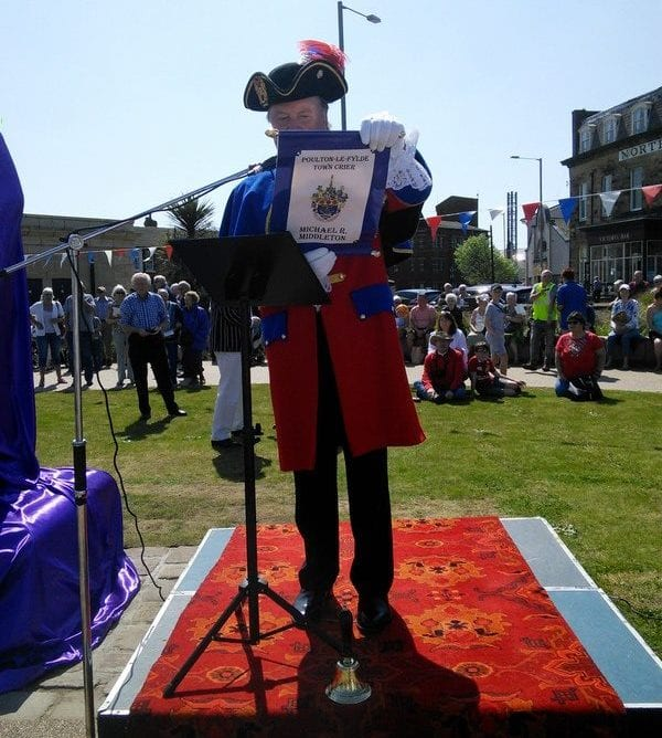 Town Crier at the unveiling of the statue of Sir Peter Hesketh Fleetwood