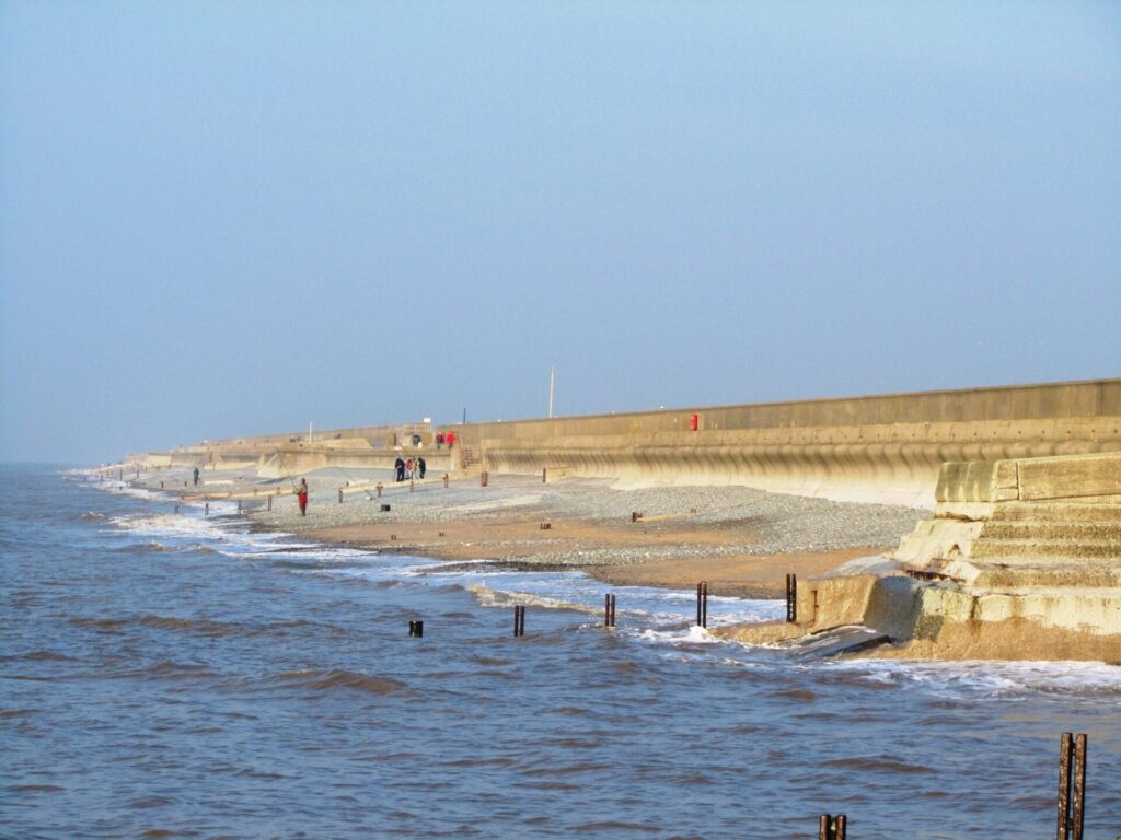 The old sea wall at West Way before building the Rossall Coastal Defence Scheme