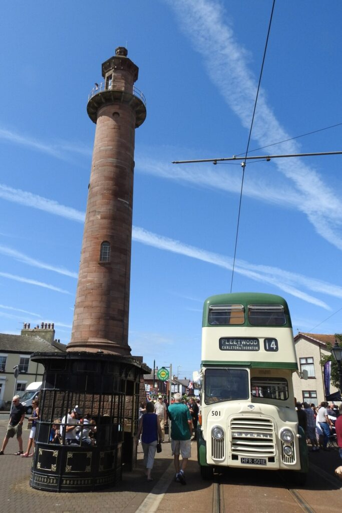Blackpool Corporation Leyland Titan PD3A/1 bus No. 501 poses alongside the original tram shelter and Pharos Lighthouse. Photo: Barrie C Woods