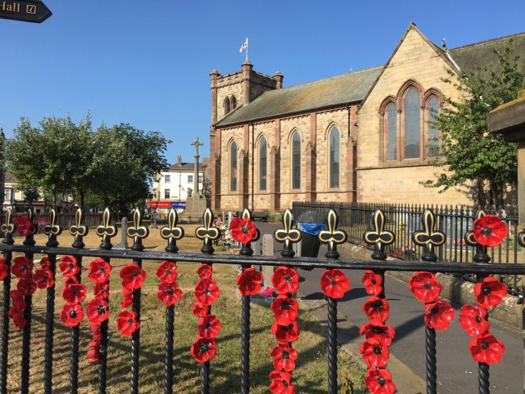 Poppy display at St Peter's Church Fleetwood