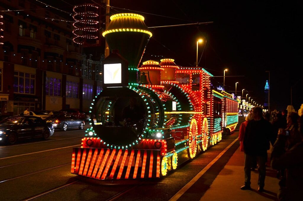 Western Train Illuminated Tram, leads the Fleetwood Festive Lights