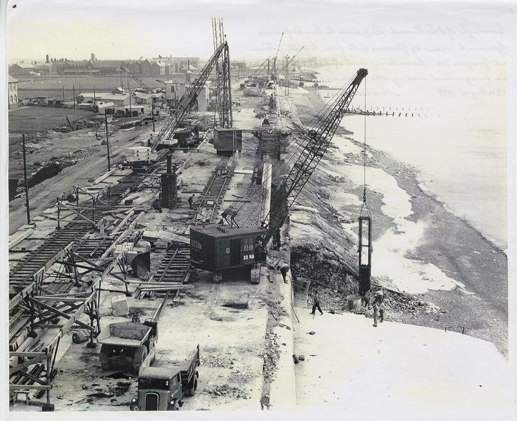 Repairs to Rossall sea wall in 1955. Photo: Visit Fleetwood