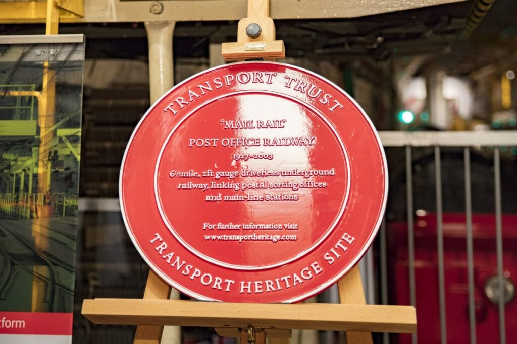 A Transport Trust Red Wheel Plaque, this one awarded to the Postal Museum
