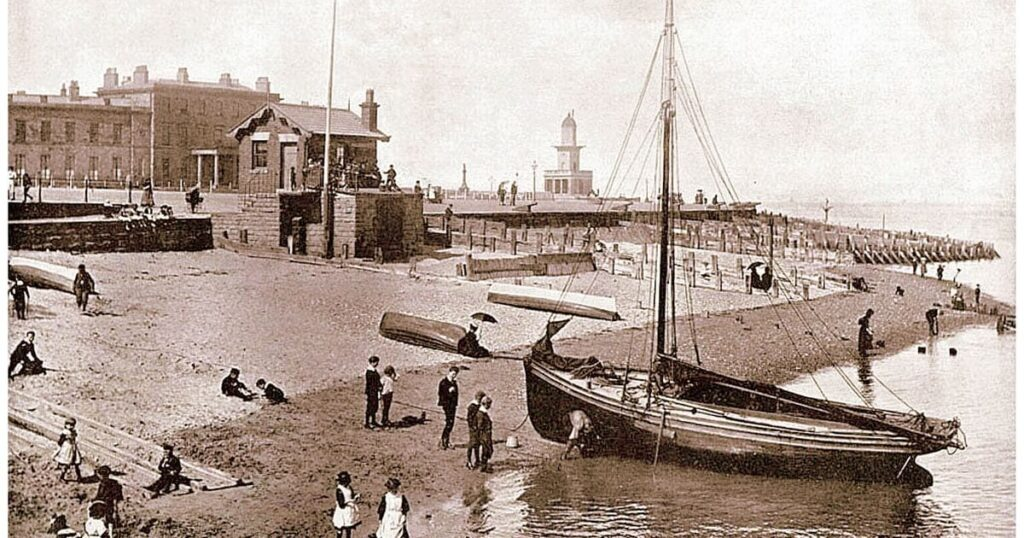 Canons along the seafront at Fleetwood, circa 1895